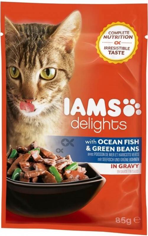 IAMS Sachets Fraîcheur Delights en Sauce ou en Gelée 85g pour Chat Adulte - 4 Saveurs au Choix