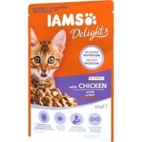IAMS Sachets Fraîcheur Delights Kitten Poulet en Sauce pour Chatons - 12x85g