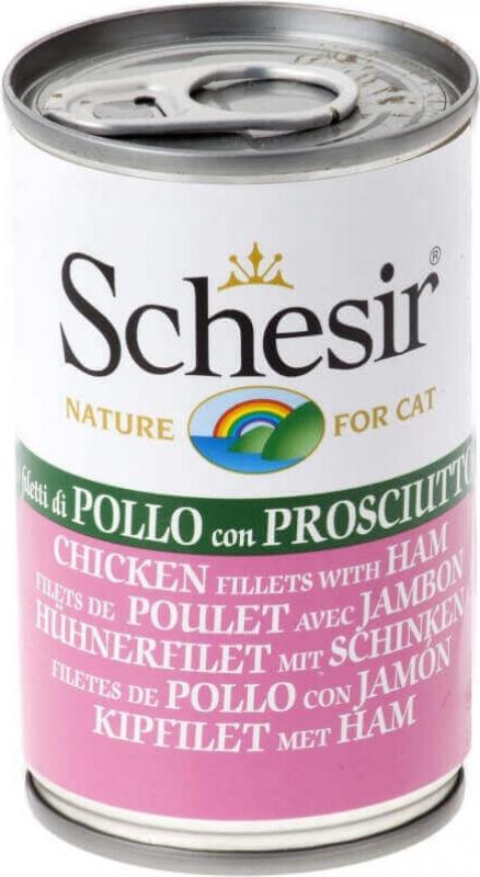 SCHESIR Cat Pâtée Naturelle en Gelée ou en Bouillon 140g pour Chat Adulte - 9 Saveurs au Choix