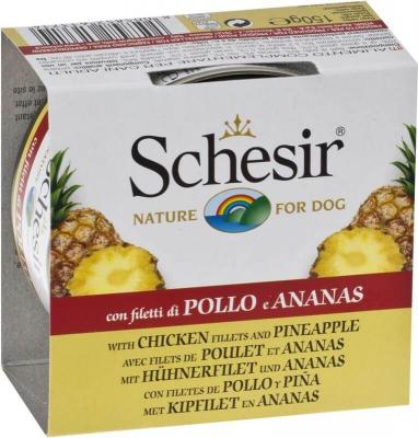 Pâtée Schesir pour chien poulet et morceaux de fruits