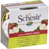 SCHESIR Pâtée Naturelle avec Morceaux de Fruits 150g pour Chien - 3 Saveurs au Choix