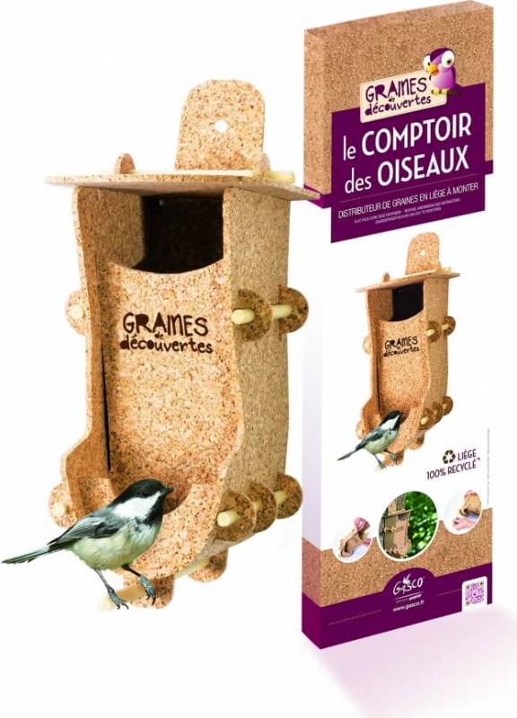 Die Theke der Vögel. Körnerverteiler für Vögel