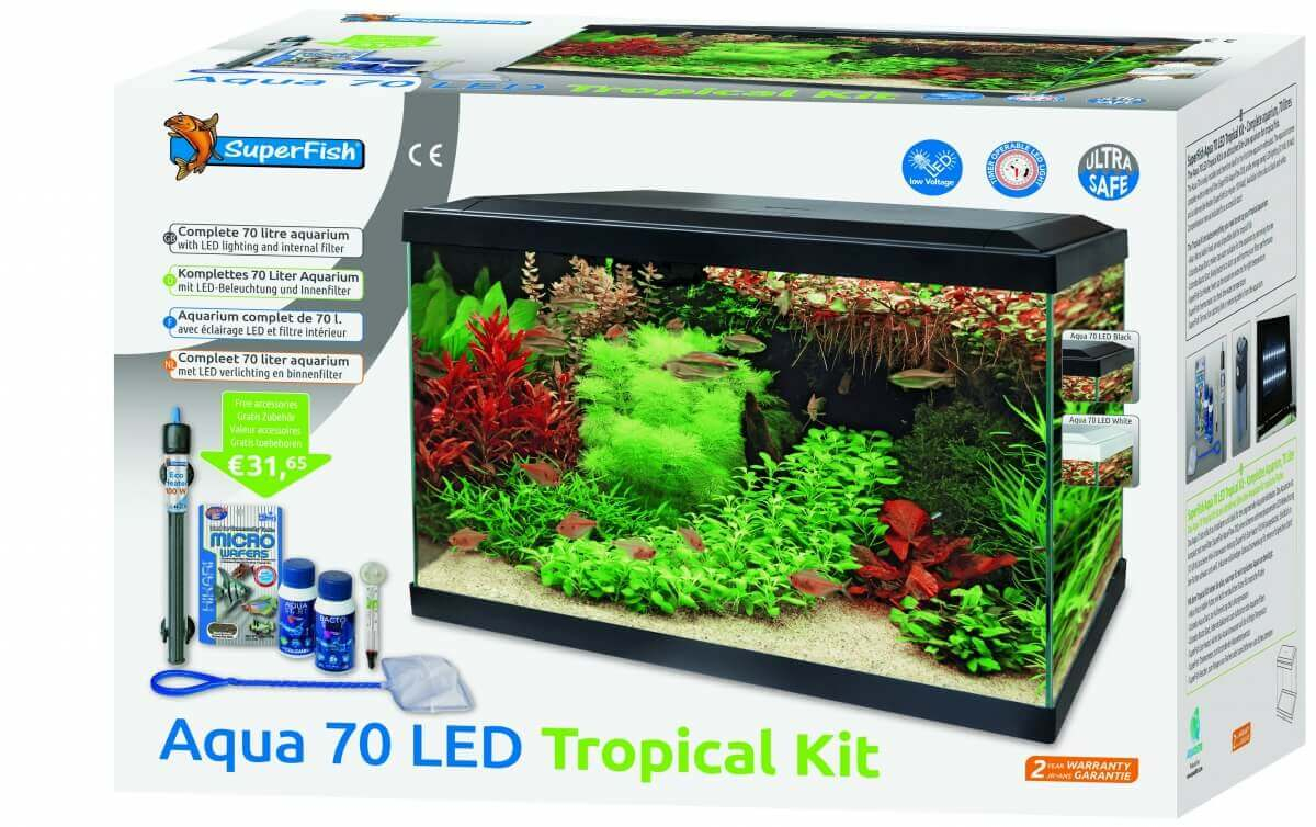 Aquariums Aqua 70 LED - Tropical Kit Blanc ou Noir_1