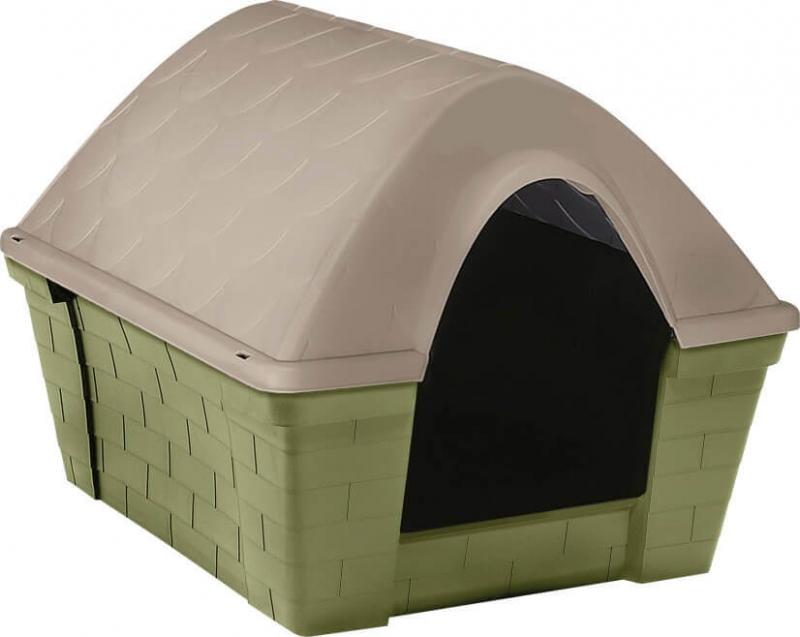 Hundehütte aus Plastik Casa Felice in grün/taupe