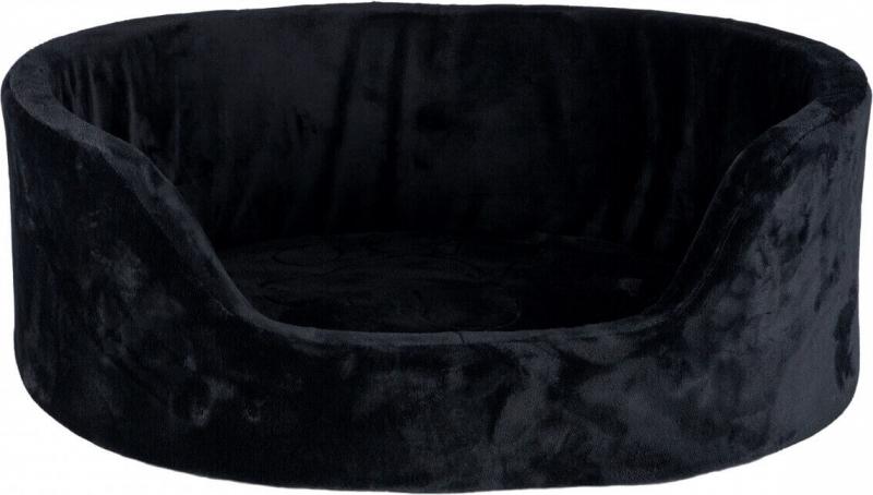 Corbeille Lit Figo recouverte de peluche, noir