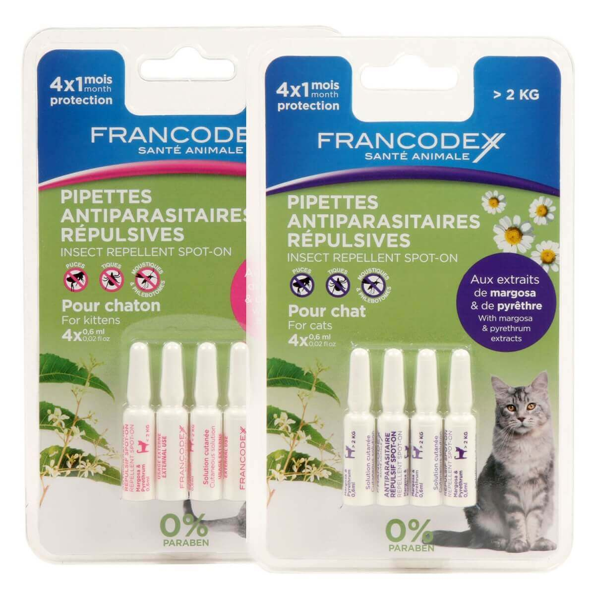 Pipettes antiparasitaires insectifuges pour chat_0