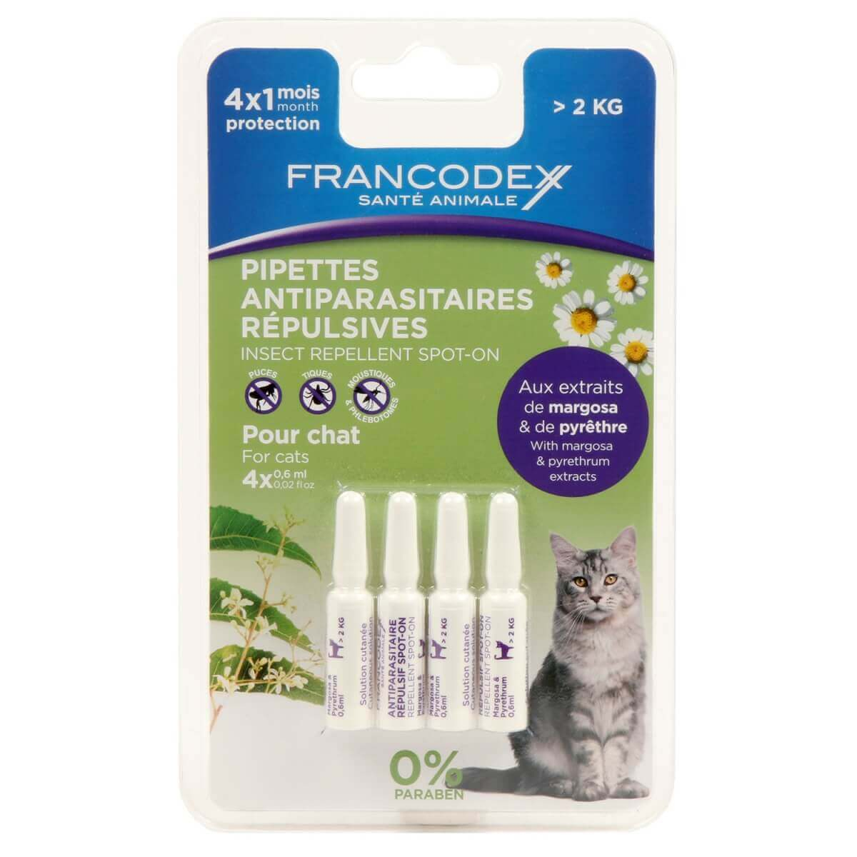 Pipettes antiparasitaires insectifuges pour chat_2