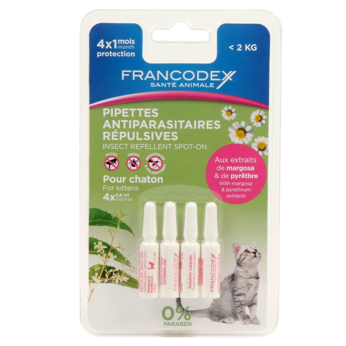 Pipettes antiparasitaires insectifuges pour chat_1