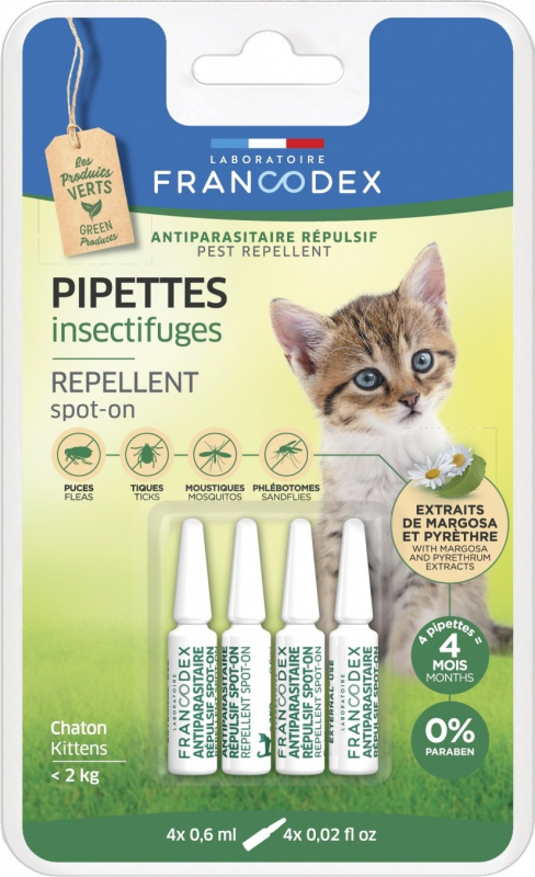 Francodex Pipettes antiparasitaires insectifuges pour chaton et chat