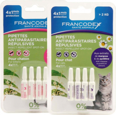 Pipettes antiparasitaires insectifuges pour chaton et chat