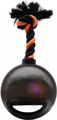 Bomber by Zeus BLACK TPR  ball with rope and LED