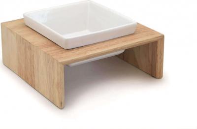 Gamelle en céramique sur support bois