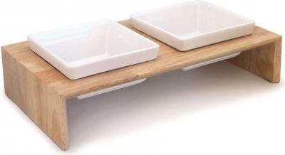 Set de dos comederos de cerámica en soporte de madera