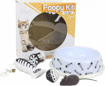 Kit  Comedero y Juguetes para gatos - POOPY KIT for Cat