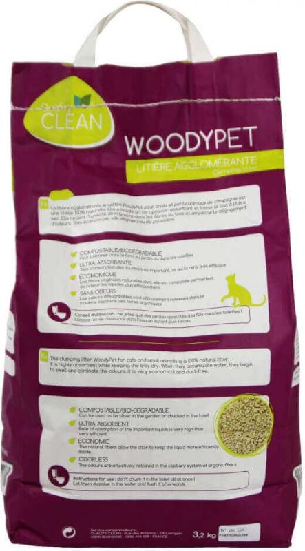 Litière agglomérante pour chat et rongeurs WOODYPET