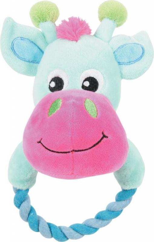 Jouet peluche TOUDOUX vache turquoise avec corde THEO