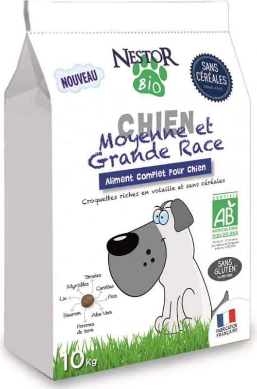 NESTOR BIO Croquettes BIO Sans Céréales pour chiens de moyennes et grandes races