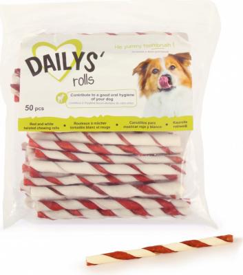 50 Rouleaux à mâcher rouge et blanc DAILYS pour chiens