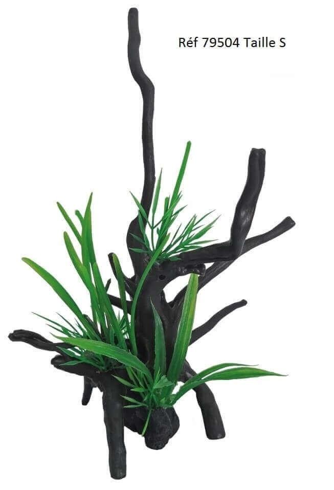 plastikdekoration wurzel spiderwood mit pflanzen fantasie deko. Black Bedroom Furniture Sets. Home Design Ideas
