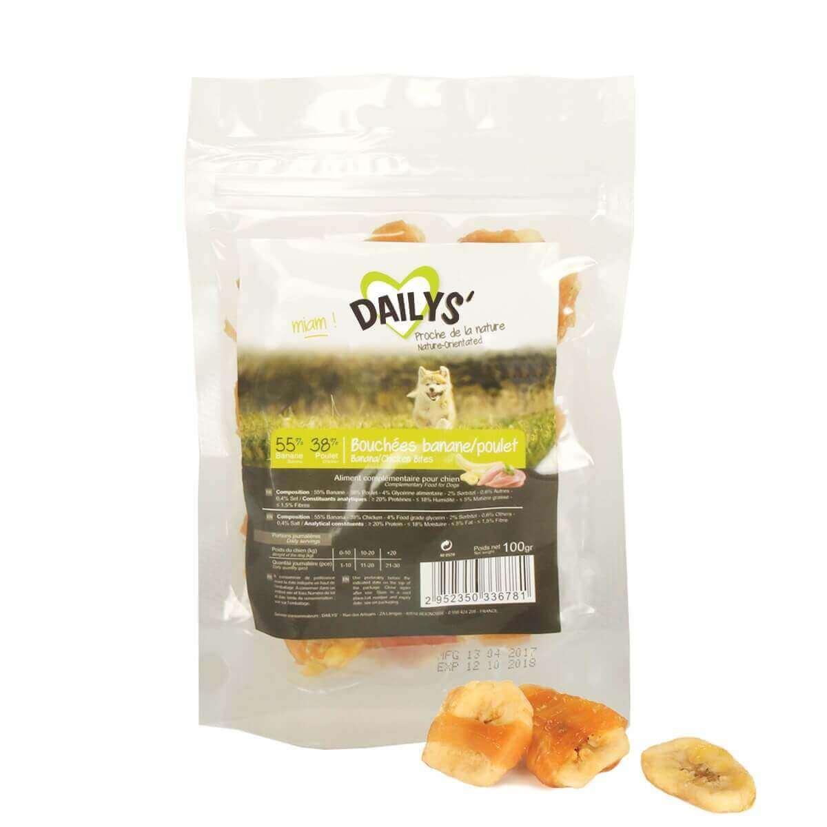 Friandises bouchées Banane Poulet DAILYS pour chien_0