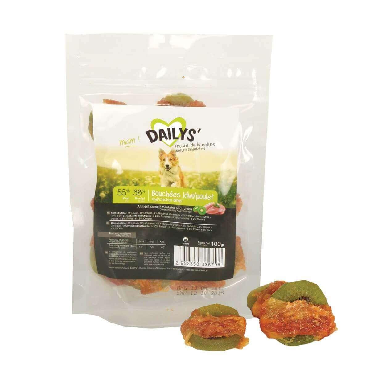 Leckerli Kiwi in Hühnchenstreifen DAILYS für Hunde_0