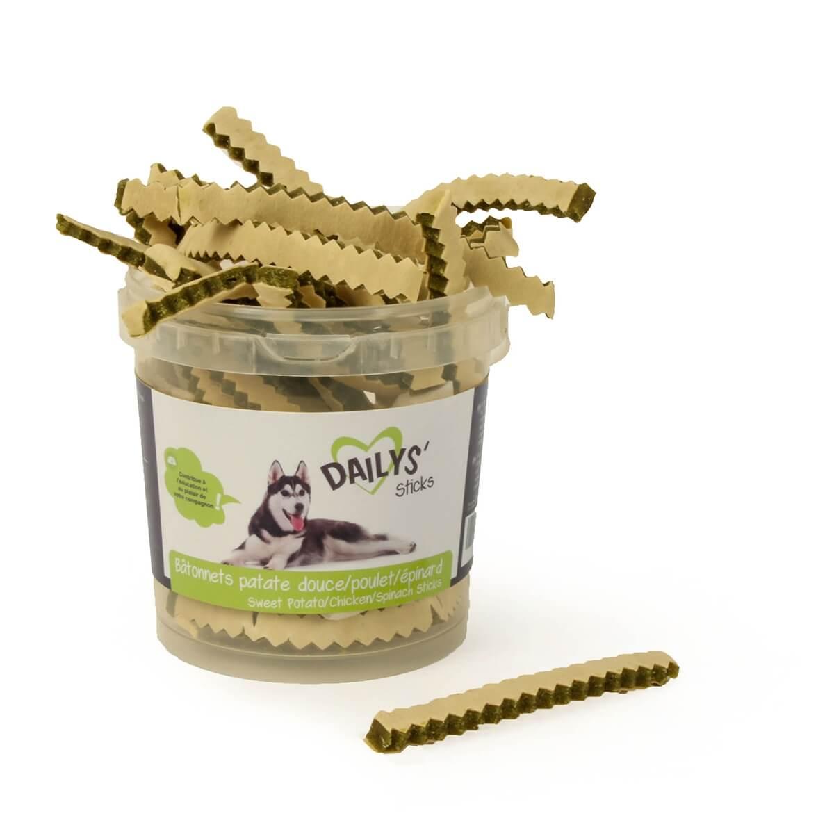 Friandises Poulet, Patate douce et Epinard  DAILYS pour chiens_0