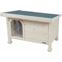 Niche bois toit plat pour chiens