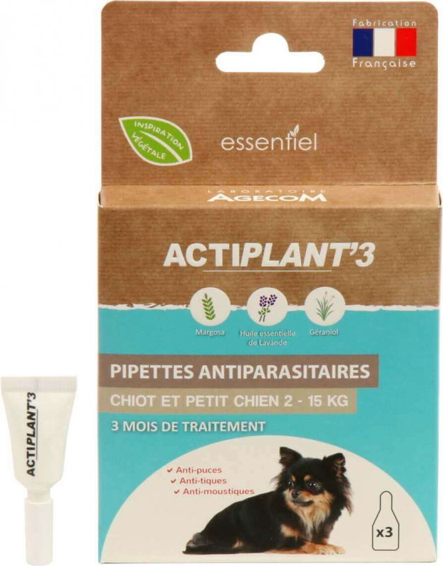 Pipettes insectifuges antiparasitaires CHIEN ActiPlant'3 x3