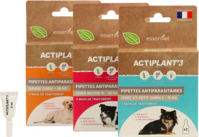 Pipettes insectifuges antiparasitaires CHIEN ActiPlant'3