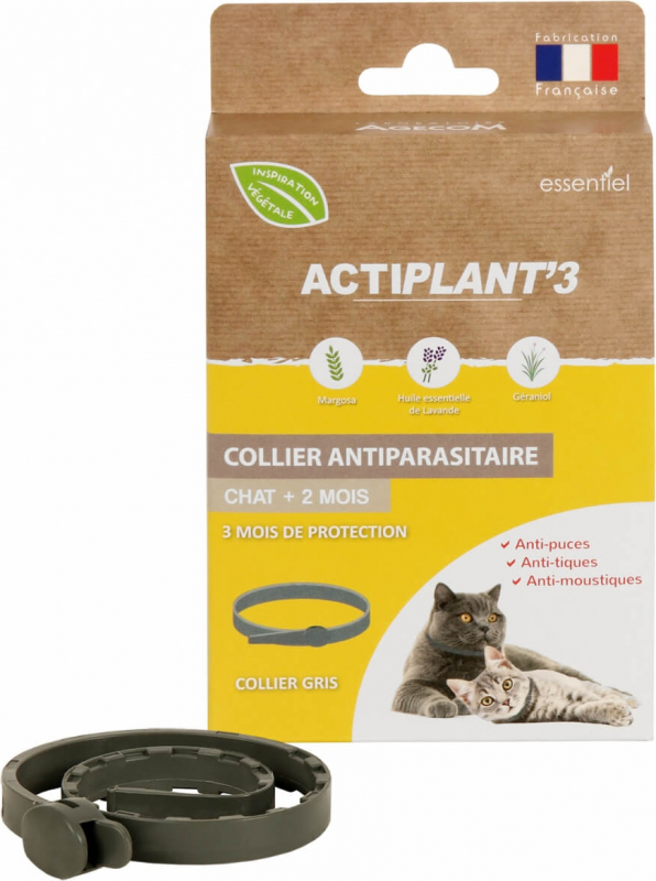 Collier insectifuge antiparasitaire CHAT ActiPlant'3