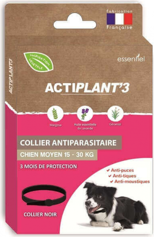 Collier ActiPlant'3 insectifuge antiparasitaire pour chien