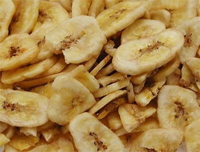 Rodajas de plátano deshidratadas para loro