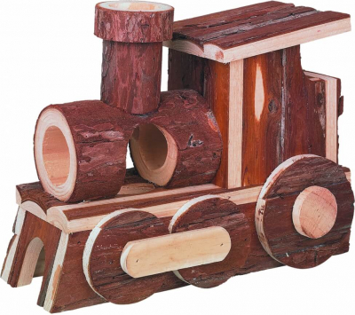 Locomotive en écorce de bois pour petits rongeurs