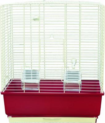 Cage petits oiseaux KATIA blanc et bordeaux