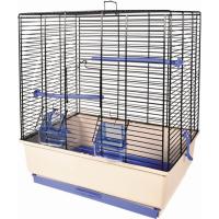Cage petits oiseaux KATIA beige et bleue - H50cm