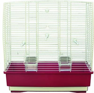 Cage petits oiseaux MOIRA blanc et bordeaux