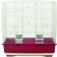Cage petits oiseaux MOIRA blanc et bordeaux - H54cm