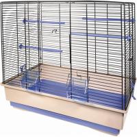 Cage petits oiseaux MOIRA beige et bleue - H54cm