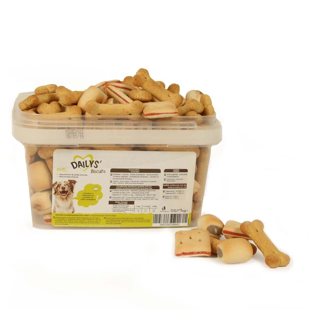 Biscuits assortis DAILYS pour chien 1kg_0