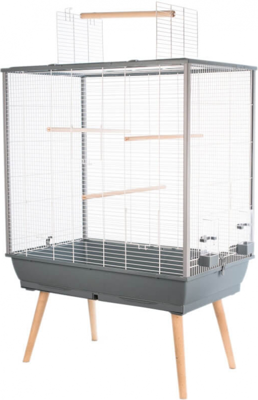 Cage perruches NEO Jili grise - H 112 cm