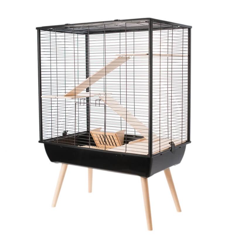 cage neo cosy noire pour lapin et grand rongeur cage lapin. Black Bedroom Furniture Sets. Home Design Ideas