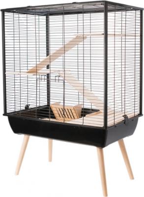 Käfig für große Nagetiere und Kaninchen NEO Cosy in schwarz