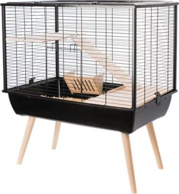 Cage NEO Muki noire pour lapin et grands rongeurs