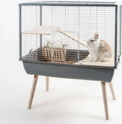 Cage NEO Muki grise pour lapin et grands rongeurs