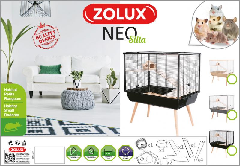 Cage petit rongeur à 2 étages - H87,5 cm - Zolux NEO Silta noire
