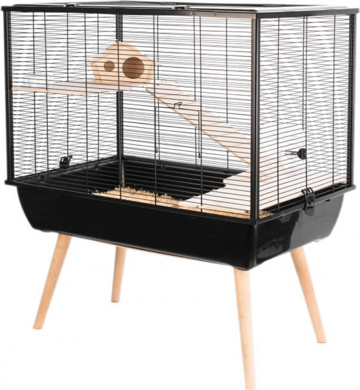 Cage petit rongeur NEO Silta noire à deux étages