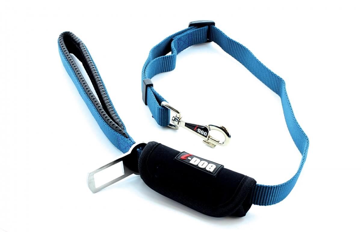 Laisse confort IDOG bleu/gris avec boucle de sécurité pour voiture_0