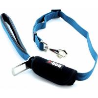 Laisse confort IDOG bleu / gris avec boucle de sécurité pour voiture