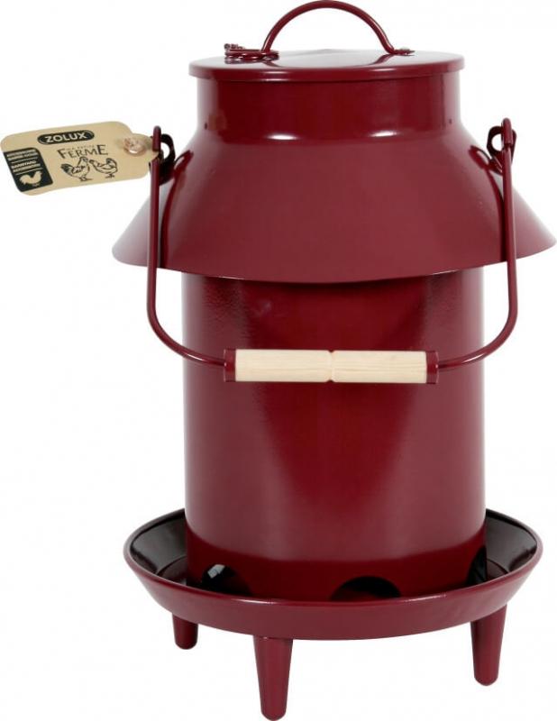Mangeoire métal basse-cour avec toit coloris grenat 3.5L