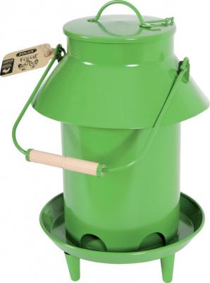 Mangeoire métal basse-cour avec toit coloris vert 3.5L